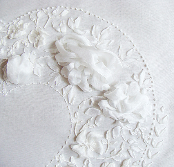 silk ribbon flowers, peonies in ribbon embroidery, white embroidery, wedding