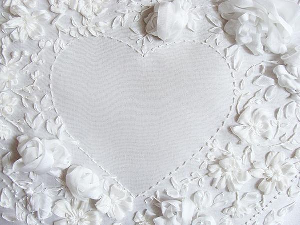 подушечка для обручальных колец, фото вышивки лентами, схемы вышивки лентой