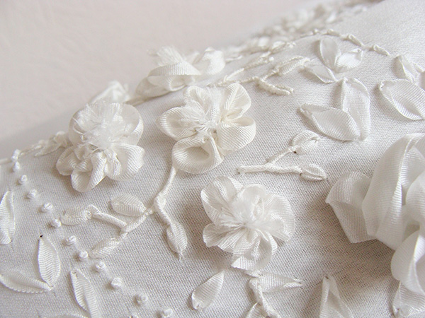 ribbon embroidery for bride dresses, ribbon flowes, white ribbon for wedding