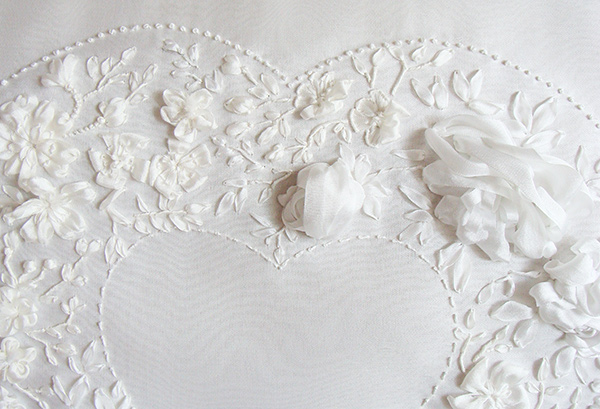 ribbon embroidery, embroidered wedding dresses, buy, order, silk ribbon embroidery, wedding ring cushion
