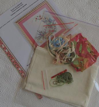 Hand-made presents, holiday gifts, ribbon embroidery kits, silk ribbon, Tatiana Popova designs, buy online, embroidery kit contains, craft, art, embroidery kits buy in Europe, painting background for embroidery, mauve silk, natural silk ribbon for embroidery.