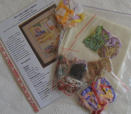 Hand-made presents, holiday gifts, ribbon embroidery kits, silk ribbon, Tatiana Popova designs, buy online, ribbon embroidry, craft, art, embroidery kits buy in Europe, painting background for embroidery, mauve silk, natural silk ribbon for embroidery, embroidery kit contains.