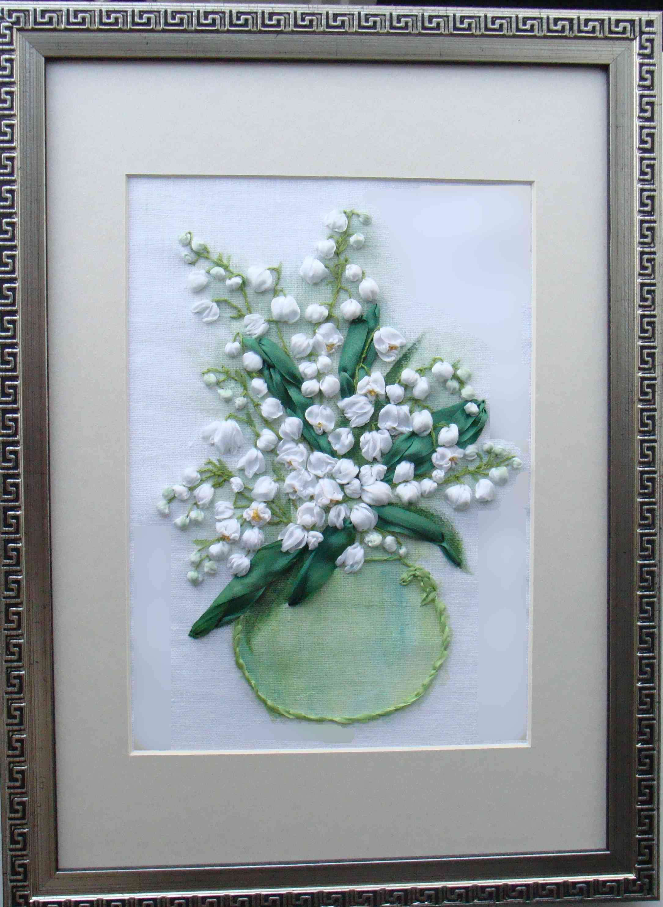 Lilies of the valley in silk ribbon embroidery, book on ribbon embroidery, stitch guide for beginners, silk ribbon