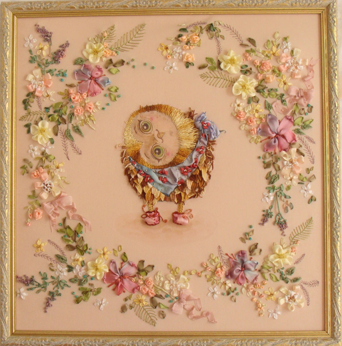 ribbon embroidery, art of ribbon embroidery, embroidered owlet, ribbon wreath, funny pictures for embroidery, romantic ribbon