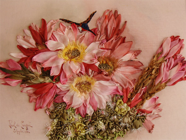 flowers in silk ribbon, ribbon embroidery flowers, silk ribbon embroidery kits, ribbonwork