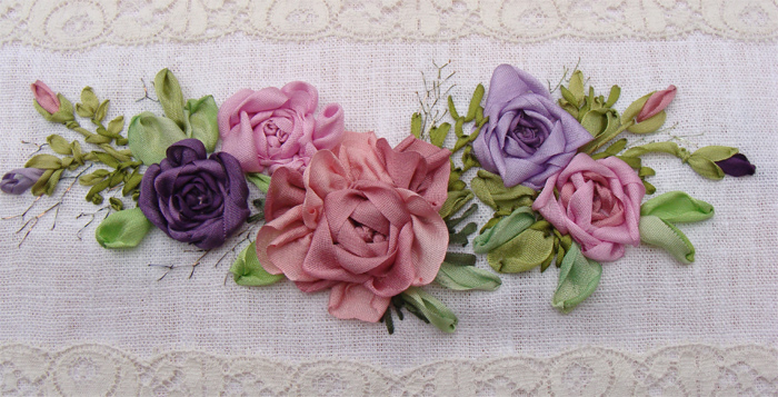 silk ribbon embroidery napkin, embroidered flowers, ribbon roses, ribbon embroidery kits, designs, Tatiana Popova, Europe, craft, art, garland, buy online, presents