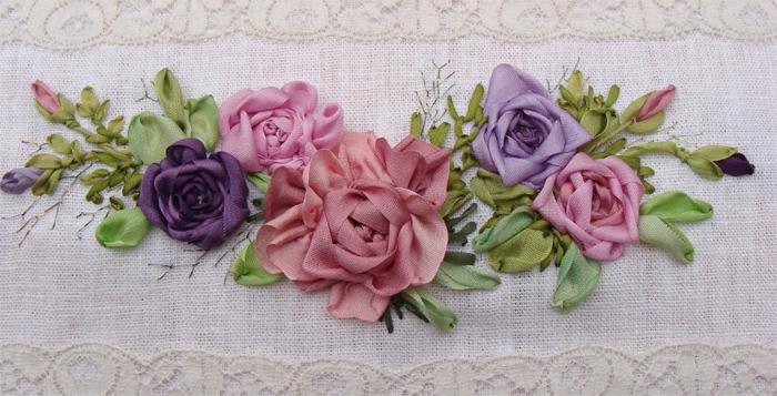 наборы и схемы для вышивки, розы вышить лентами, наборы с шелковой лентой купить