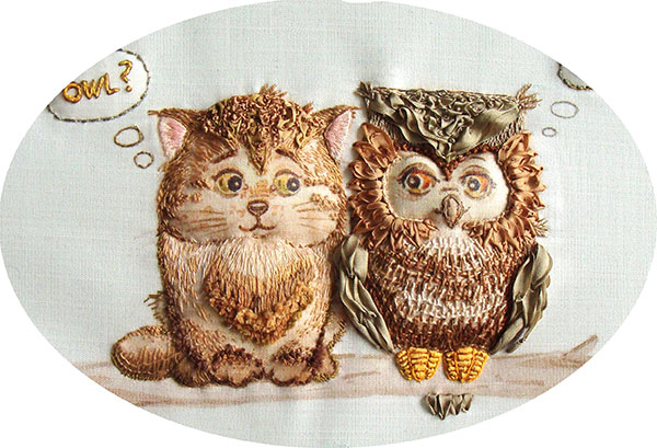 kits for ribbon embroidery, buy, silk ribbon, instructions, designs, photo, owls