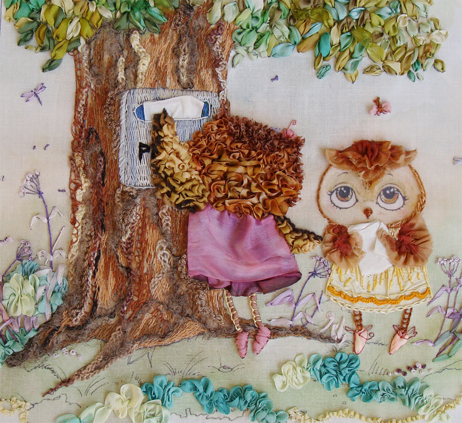 ribbon embroidery owls, silk ribbon embroidery, ribbon embroidery designs, kits for silk ribbon embroidery