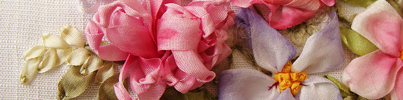 ribbon flowers, ribbon embroidery kits for beginners, silk ribbon, natural silk