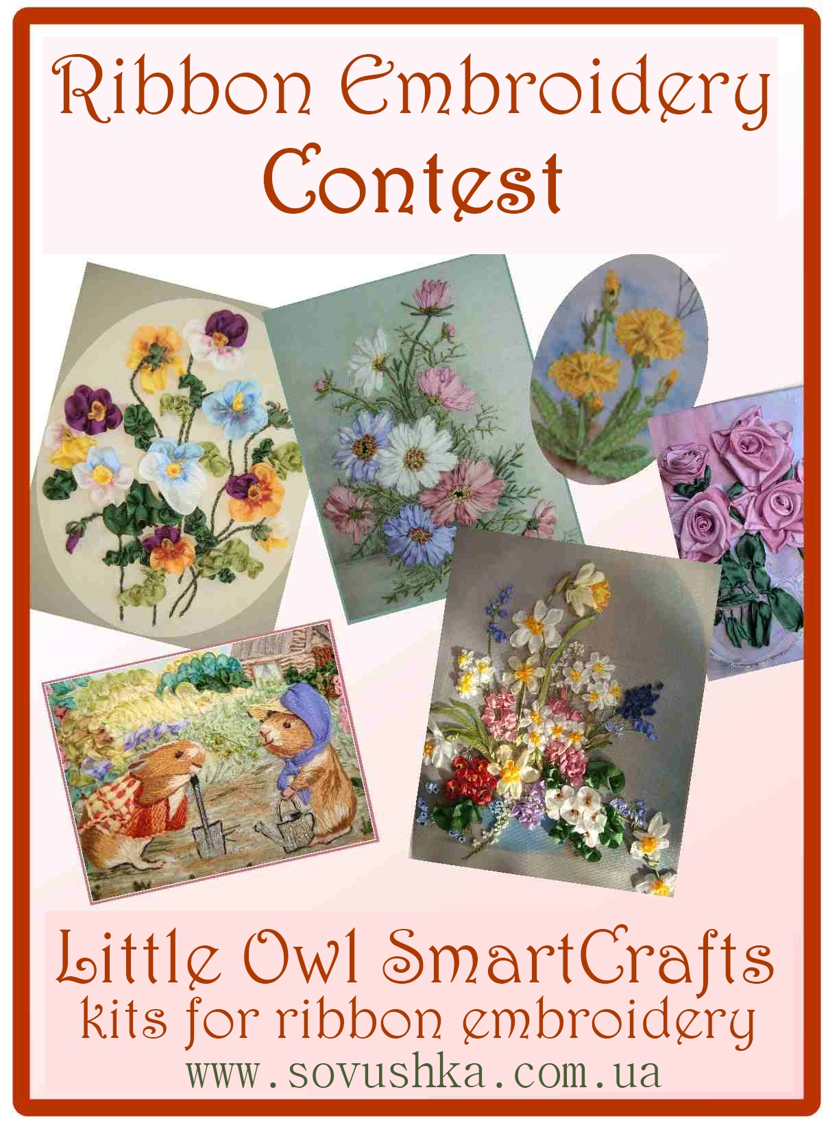 ribbon embroidery contest, show, design, certificate, silk ribbon contest