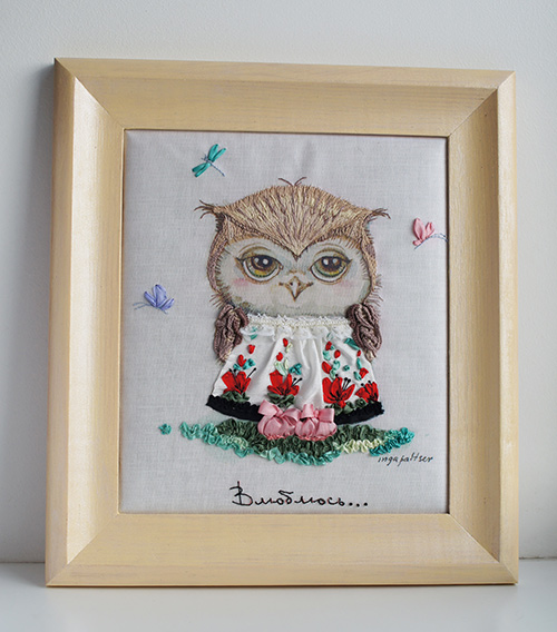 International embroidery contest, ribbon owls, Inga Paltser, watercolour owls