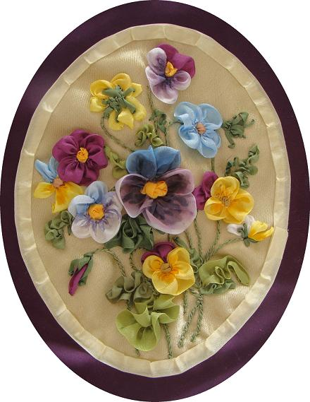 pansies flowers, silk ribbon, designs by Tatiana Popova, ribbon embroidery kits, buy online, craft, art, hand-made, presents, natural silk, embroidery kit