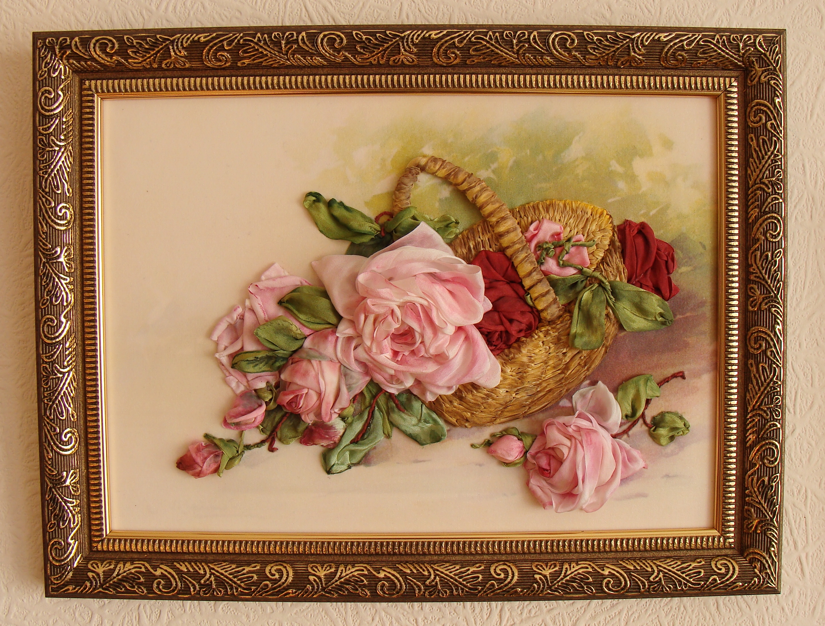 silk ribbon embroidery, ribbon roses, silk ribbon roses, ribbon embroidery flowers, dyeing silk ribbon