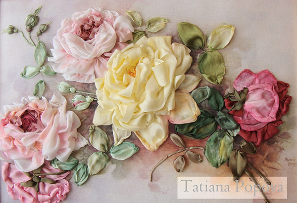 roses in ribbon embroidery, silk ribbon roses, free guide for beginners, download, ribbon stitches, ribbon embroidery