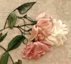 embroidered roses, silk ribbon embroidery, embroidered flowers, ribbon embroidery classes, program, workshops
