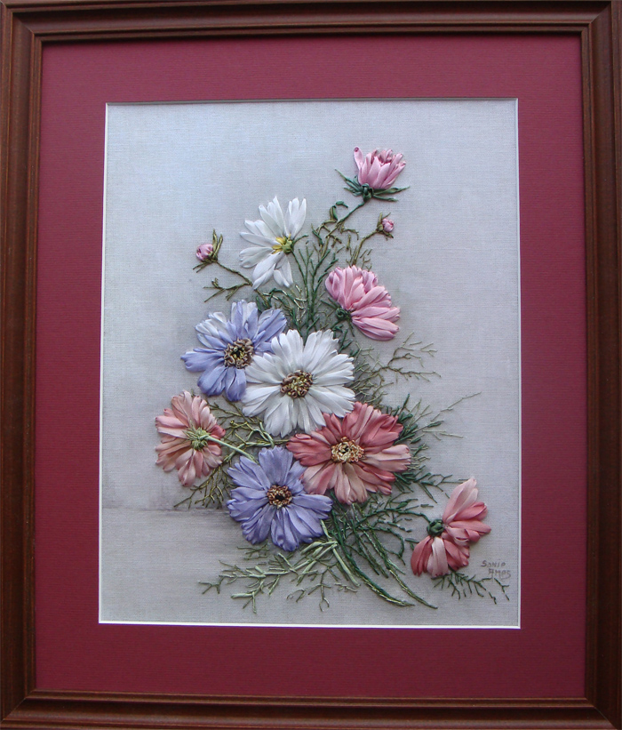 ribbon embroidery, silk ribbon, silk ribbon embroidery, kits for silk ribbon embroidery, cosmos flowers in silk ribbon, beginner ribbon embroidery designs