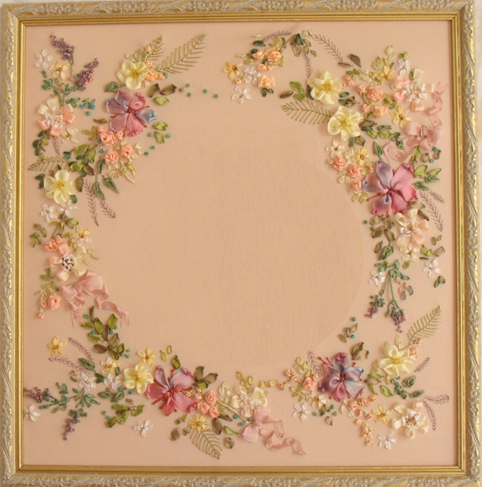 ribbon wreath, silk ribbon embroidery, ribbon embroidery kits, ribbon embroidery designs, images of silk ribbon embroidery