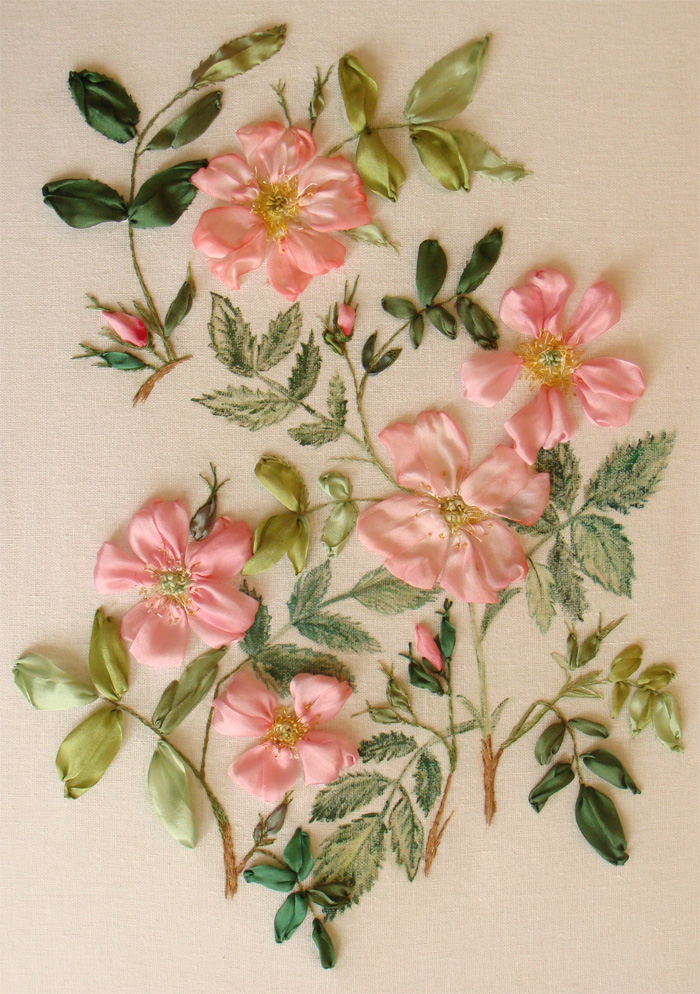 silk ribbon embroidery, ribbon flowers, wild dog rose embroidery, ribbon embroidery kit for beginners, silk ribbon embroidery designs